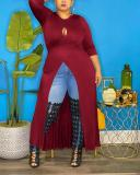Solid Split Joint O Neck Plus Size Tops Dress