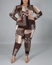 Abstract Print Irregular Bodycon Plus Size Set