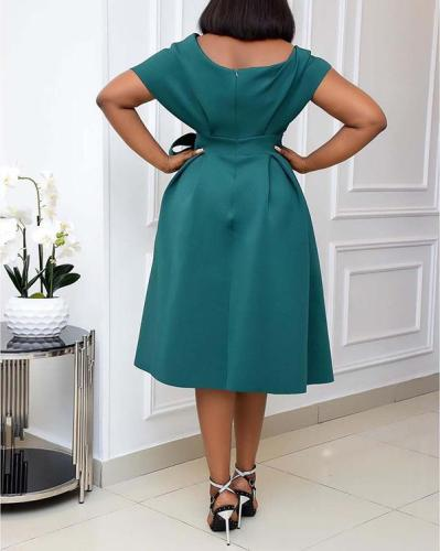 Short Sleeved Off-shoulder Evening Gown Dress