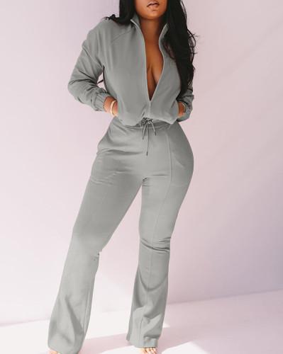 Fashion Casual Zipper Jumpsuit