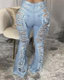 Plus Size Denim Hole Distressed Flared Jeans