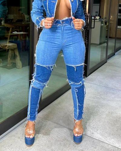 High Waist Denim Hole Distressed Pants Jeans