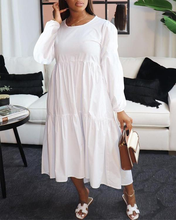 Long Sleeve Round Neck Casual Dress