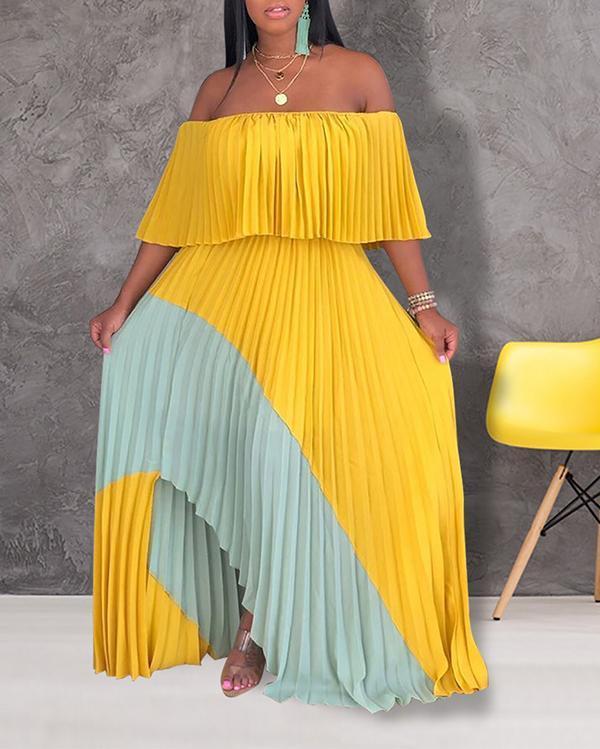 One-shoulder Chiffon Pleated Dress
