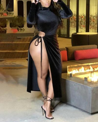 Velvet Hollow Sexy Long Sleeve Long Dress