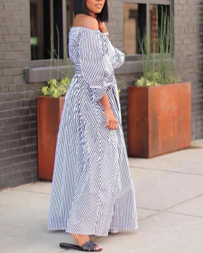 Sexy Off-shoulder Striped Print Maxi Dress