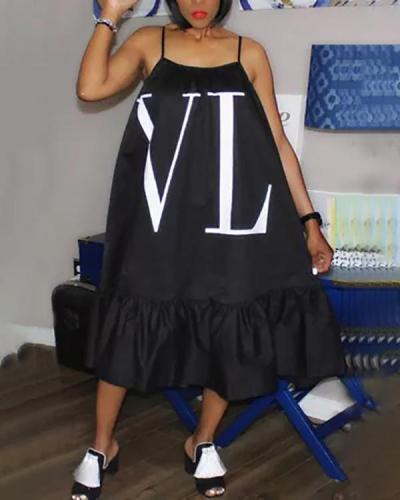 Solid Color Letter Print Loose Strap Dress