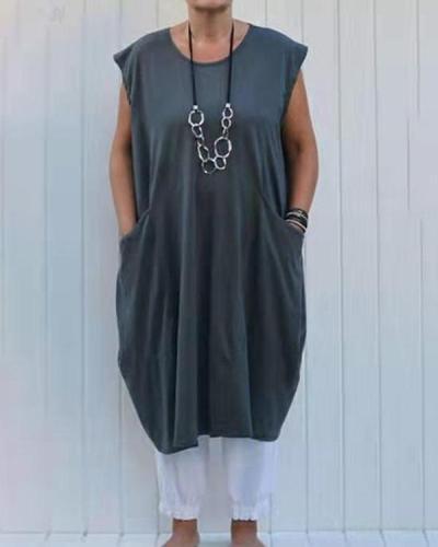 Plus Size Loose Solid Color Pocket Cotton Linen Dress