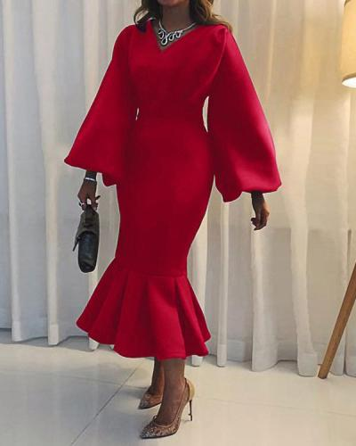 Plus Size Women's V-neck Long-sleeved Mermaid Hem Dress