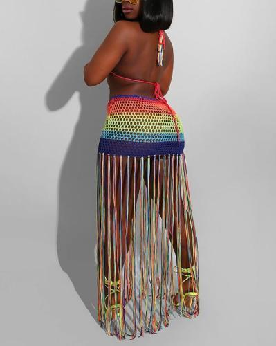 Multicolor Bikini Top & Tassel Skirt Set
