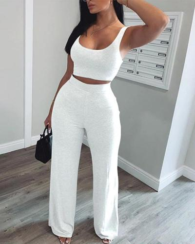 Solid Crop Tank Top & Pants Two-pieces Suit