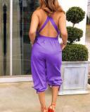 V-Neck Criss-Cross-Back Elastic-Tie-Waist Knee-Length Jumpsuit