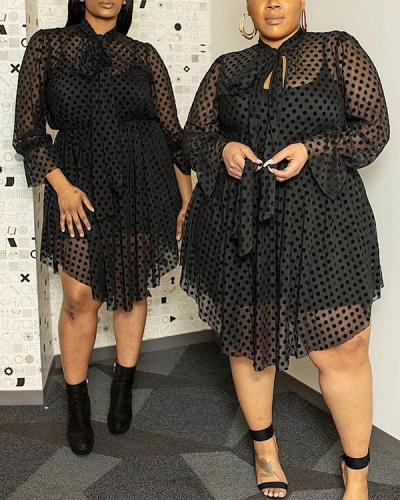 Plus Size Sexy Mesh Hollow Perspective Irregular Fake Two-piece Dress
