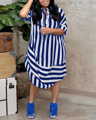 Casual Striped Lapel Short Sleeve Jersey Dress
