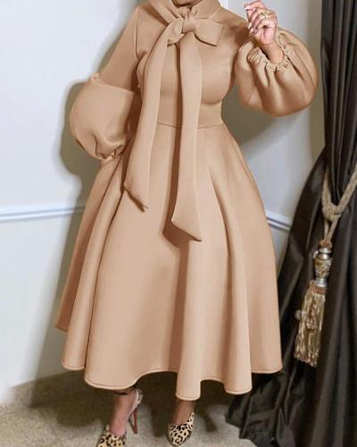Lantern Sleeves Bowknot Plus Size Large Swing Dress