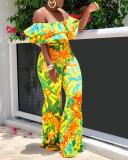 Fashion Printed One-shoulder Jumpsuit