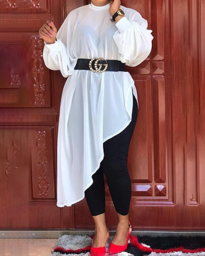 Plus Size Plain Asymmetric Long Sleeve Long Blouse