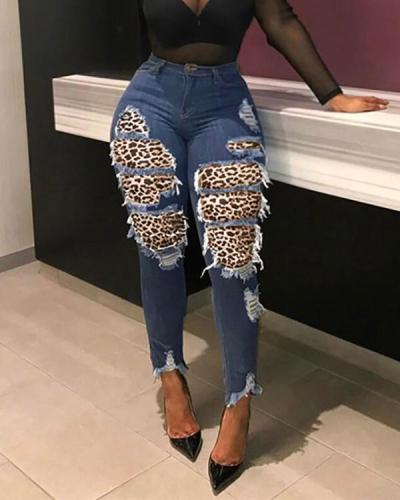 Denim Leopard Patchwork Jeans