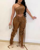 Sexy Vest Lace Faux Leather Pants Two-Piece Set