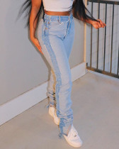 Denim Fringed Jeans Feminine Foot Pants