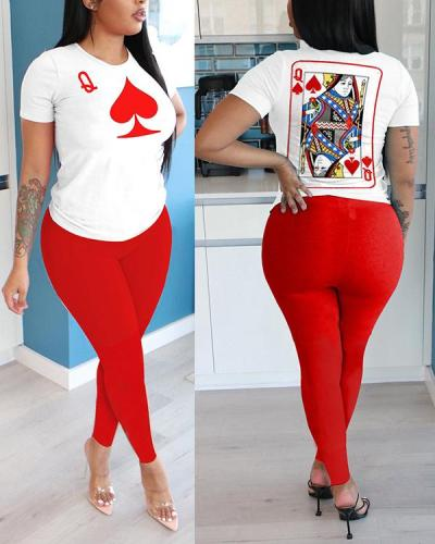 Poker Q Letter Short-sleeved Trousers Two-piece Suit