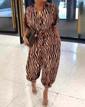 Fold-Over Collar Single-Breasted Short-Sleeved Zebra Pattern Jumpsuit