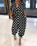 Dots Print Fold-Over Collar Single-Breasted Short-Sleeved Jumpsuit