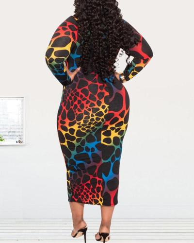 Plus Size Tight Printed Dress
