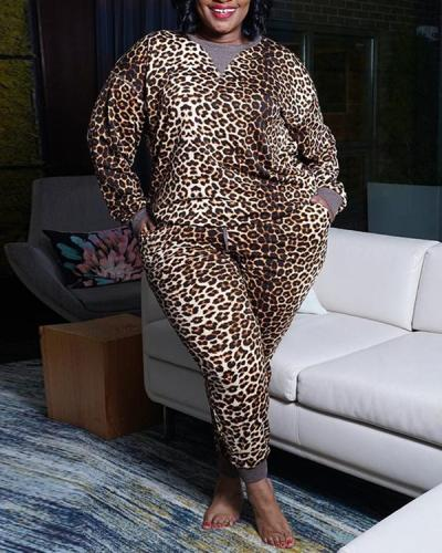Fashion Print Casual Plus Size Two-piece Suit