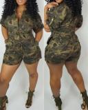 Fashion Casual Camouflage Shorts Jumpsuit