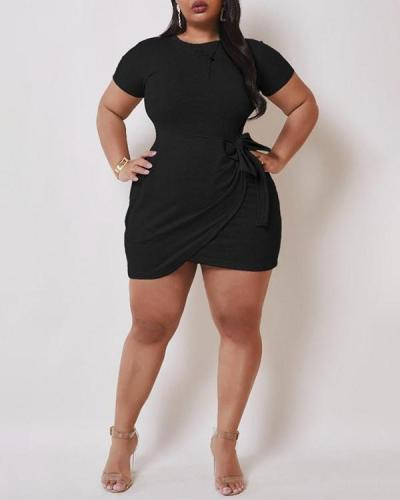 Solid Short Sleeve Plus Size Dress
