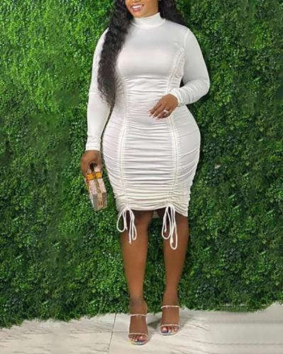 Plus Size Drawstring High Neck Long Sleeve Dress