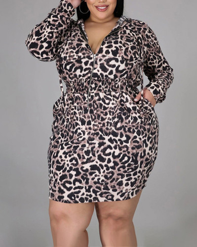 Hooded Leopard Print Loose Casual Dress
