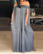 Loose Off Shoulder Split Sleeve Jumpsuit