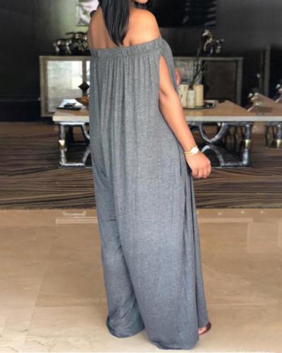 Loose Off Shoulder Split Sleeve Jumpsuit