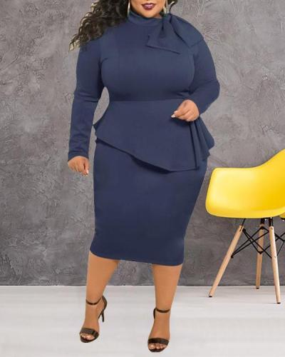 Plus Size Dress Bow Long Sleeve Dress