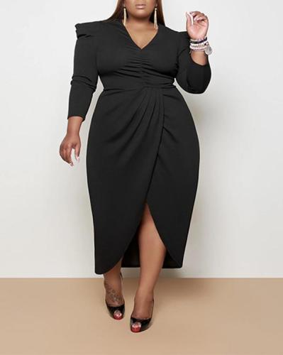 Plus Size Sexy Irregular Slit Knit Loose Dress