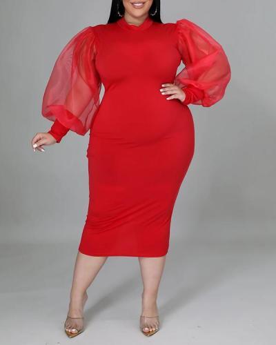 Mesh Sheer Lantern Sleeve Plus Size Dress