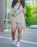 Casual Collar Long Sleeve Regular Sleeve Solid Plus Size Set