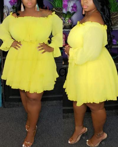 Solid Color One-word Shoulder Dress