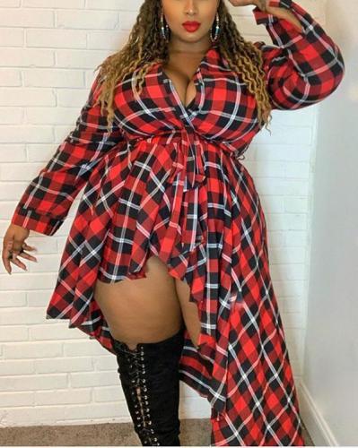 Sexy Lace Irregular Plus Size Plaid Shirt Dress