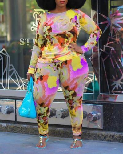 Color Print Plus Size Two-piece Suit