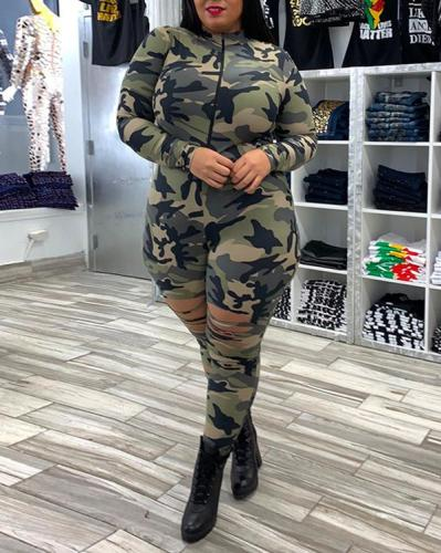 Camouflage Ripped Sexy Plus Size Jumpsuit