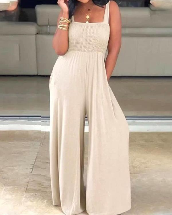 Solid Color Square Collar Loose Wide-leg Jumpsuit