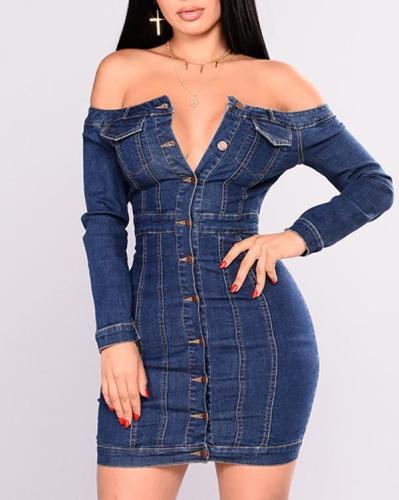 One-shoulder Tight Sexy Denim Dress