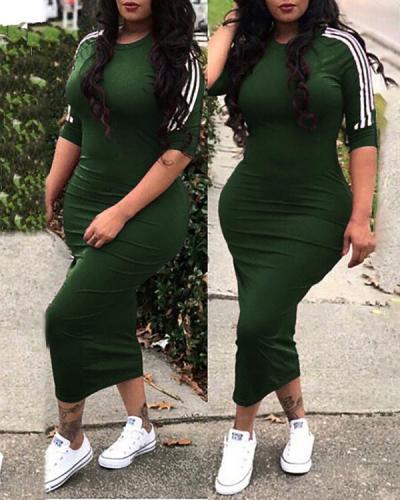 Fashion White Striped Maxi Dress