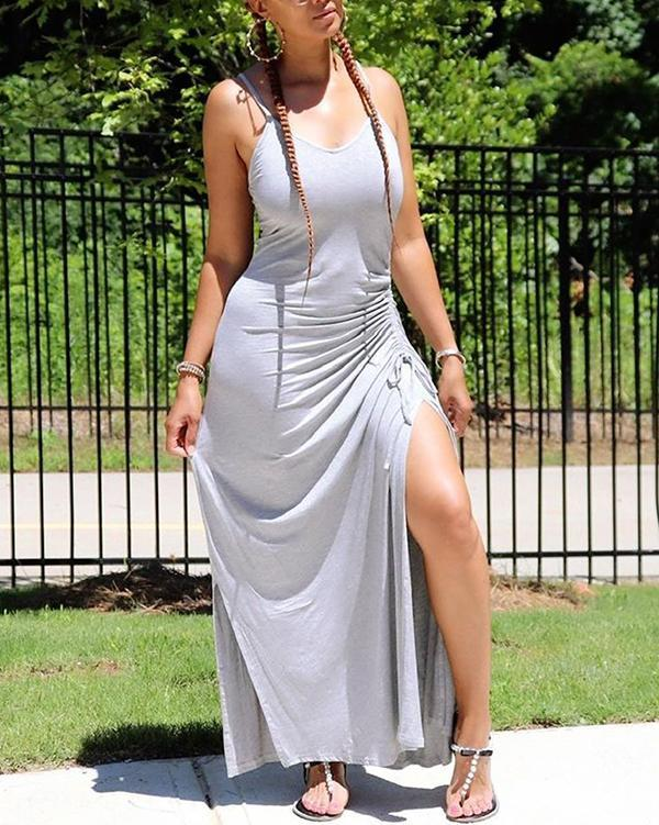 Sexy Solid Color Slit Pleated Dress