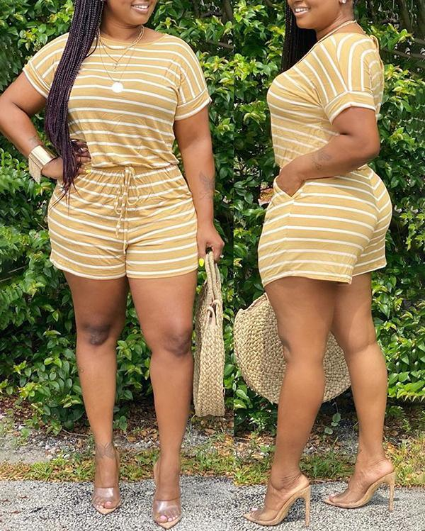 Fashion Striped Print Plus Size Two-piece Suit