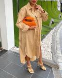 Long Sleeve Slit Buttoned Loose Dress
