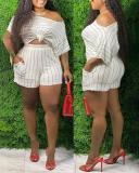 Fashion Striped Plus Size Two-piece Suit